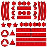 Mitening Reflektoren Aufkleber Sticker, Reflektor Sticker Fahrrad, Reflektor Aufkleber Set, Reflexfolie selbstklebend, Reflektierende Aufkleber für Kinderwagen Fahrrad und Helme (Rot)