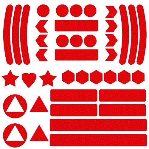 Mitening Adesivi Catarifrangenti Kit Adesivi Riflettenti, Adesivi Catarifrangenti Bici, Adesivi Riflettenti Notte per Bici, Auto, Passeggino, Casco, Moto, Scooter, Giocattoli (41 Pezzi) (Rosso)