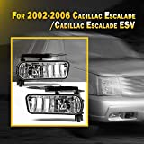 NIXON OFFROAD Fog Light Fit for 2002-2006 Cadillac Escalade, 2003-2005 Cadillac Escalade ESV, 2 PCS Bumper Driving Fog Light Assembly, Fog Light Lamp Replacement W/ Bulb - 899 12V 37.5W Clear Lens