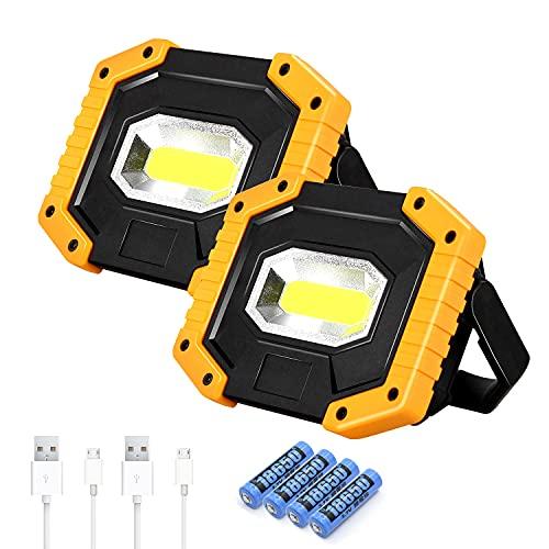 T-SUN Lampada da Lavoro a LED Ricaricabile da 30 W, 3 Modalità Proiettore Portatile 2000LM Proiettore da Cantiere Con 4 Batteria 18650 Per Officina di Costruzione Officina da Campeggio(2 Pack)