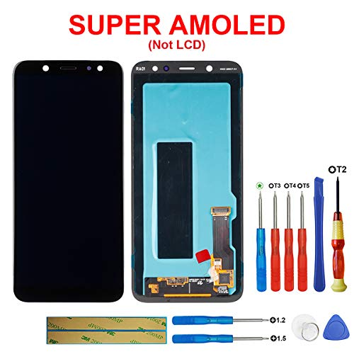 swark Super AMOLED-scherm compatibel met Samsung Galaxy A6 (2018) SM-A600F, SM-A600FN, SM-A600A, SM-A600G zwart (zonder frame) LCD-display touchscreen beeldscherm digitizer Assembly glas + tools