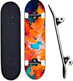 Skateboards Principiantes Profesionales 31 * 8 Pulgadas Completa Niños Adultos Tablero Doble Patada Deck 7 Capa Maple Diseños Múltiples Crucero Truck Skateboard-Pintada