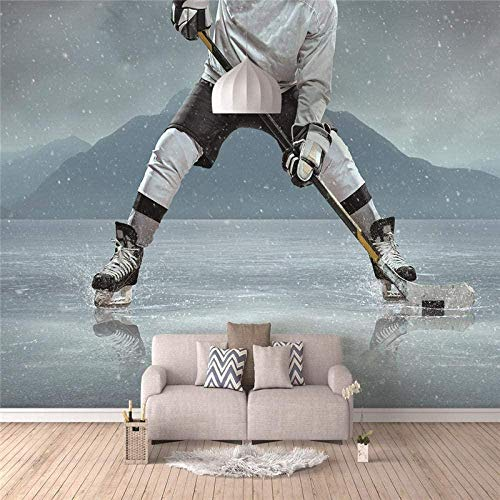 Fototapete Eishockey Mauer Fresco Foto Fernseher Sofa Hintergrund Seide Wandmalerei,Kunst Tapeten für Wohnzimmer Schlafzimmer Einrichtung 300cm(W) x210cm(H)-6 Stripes