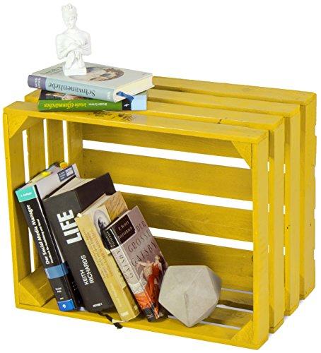 LAUBLUST Sehr Große Vintage Holzkiste - 50x40x30cm, Gelb Lackiert, Neu, Unbenutzt   Möbel-Kiste   Wein-Kiste   Obst-Kiste   Apfel-Kiste   Deko-Kiste aus Holz