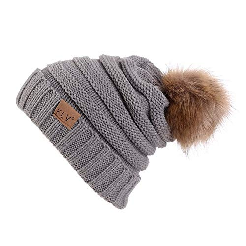 Damen Pom Pom Hut lose warm häkeln Winter Stricken Ski Mütze Schädel Baggy Hut Hut weibliche elastische Mütze Damen-Gray