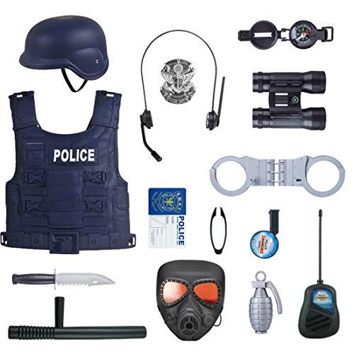 Tosbess 15 Piezas Policía de Juego, Equipamiento básico de policía de Juguete...