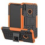 TiHen Handyhülle für Asus Zenfone Max M2 ZB633KL Hülle, 360 Grad Ganzkörper Schutzhülle + Panzerglas Schutzfolie 2 Stück Stoßfest zhülle Handys Tasche Bumper Hülle Cover Skin mit Ständer -Orange
