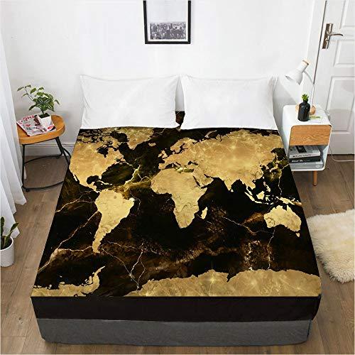 huobeibei Impresión 3D Digital Mapa de la Funda Protectora del colchón 137x190x40cm Mapa 011-Black-F