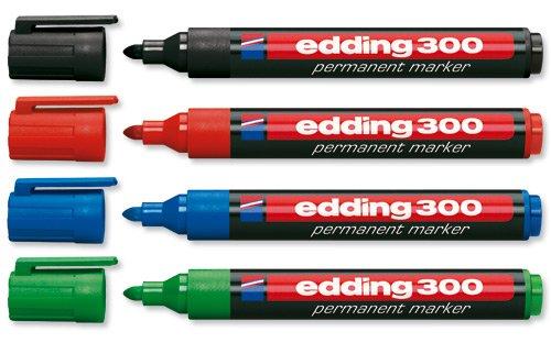 Edding E-300Permanentmarker, Rundspitze, 1,5bis 3mm himmel Noir/Rouge/Bleu/Vert/Jaune/Orange/Marron/Violet/Rose/Bleu