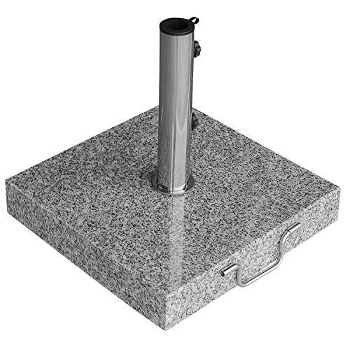 anndora Granit Sonnenschirmständer 40kg rollbar 45x45cm Adapter 48, 38mm - hellgrau poliert