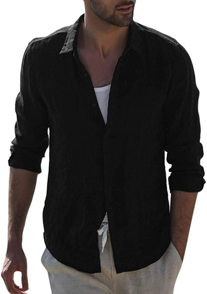 Miami Mall iLXHD Mens Men's Baggy Cotton Our shop OFFers the best service Blend Ret Sleeve Solid Pocket Long