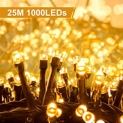 Quntis 1000Leds 25M Lichterkette mit Stecker Warmweiß, Innen und Außen, 8 Modi, Wasserdicht, Deko Beleuchtung für Weihnachten, Party, Hochzeit, Geburtstag, Terrasse, Balkon, Garten