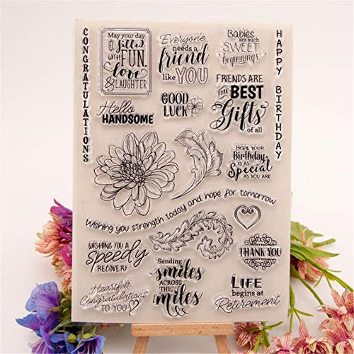 Welcome to Joyful Home 1pc Big Flower Rubber Clear Stamp for Card Making Decoration and Scrapbooking