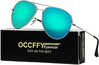 Occffy Aviator Sunglasses for Men and Women UV400 Protection Metal Frame
