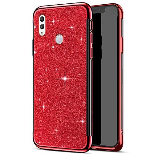 Funda Compatible con Huawei Honor Note 10,Carcasa Case Transparente Glitter Brillante Brillo Chapado 2 en 1 TPU Silicona Ligero Ultrafino Cuerpo Completo Cubierta Protectora Anti-Shock Bumper,Rojo