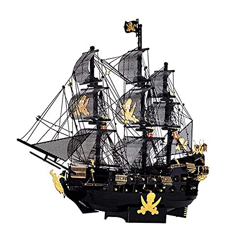 Chtom Rompecabezas 3D Metal for hombres,hombres,Bricolaje Kits de construcción de velero de barco de pirata Juguete aficionado,rompecabezas 3D Puzzle Modelo Modelo de embarcadero Decoración de escrito