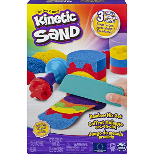 Rainbow Mix Set with 3 Colours of Kinetic Sand (382g) and 6 Tools, for Kids Aged 3 and Up