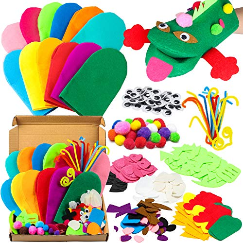 WATINC 12Pcs Hand Puppet Making Kit for Kids Art Craft Felt Sock Puppet Creative DIY Make Your Own Puppets Pipe Cleaners Pompoms Storytelling Role Play Party Supplies for Girls Boys