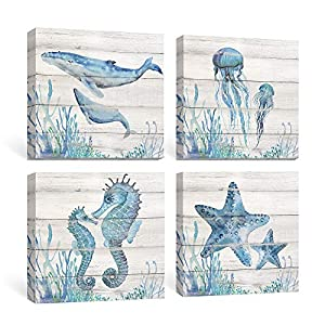 SUMGAR Ocean Wall Art Bathroom Rustic Decor Beach ...
