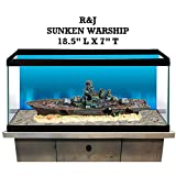 R&J Enterprises Sunken Warship Aquarium Decoration, Large, Assorted