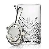 Jarra de cristal para mezclar cócteles con colador Hawthorne, jarra grande de 725 ml de c...