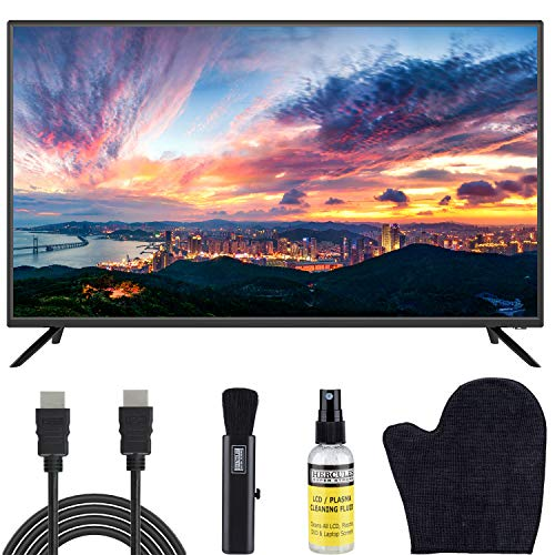 Sansui 40-Inch 1080p FHD DLED TV (S40P28F) Lightweight Slim Built-in with HDMI, USB, VGA, High Resolution Bundle with Circuit City 6-Feet Ultra High Definition 4K HDMI Cable & LCD Screen Cleaning Kit