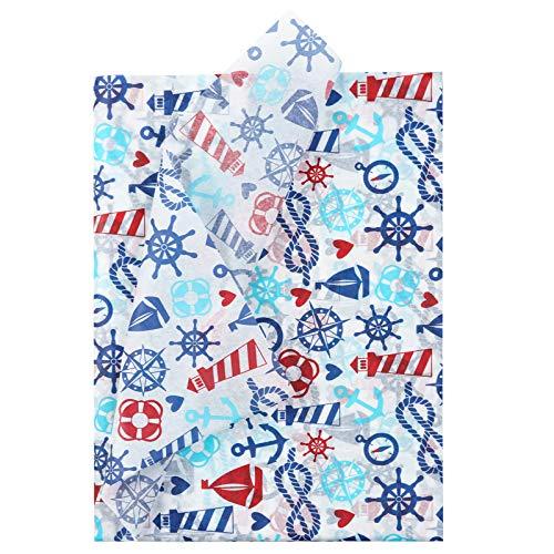 RUSPEPA Geschenkpapier Seidenpapier - Anker Design Seidenpapier für Heimarbeit Bastelarbeit Geschenkverpackung – 50 x 70 cm – 25 Blatt