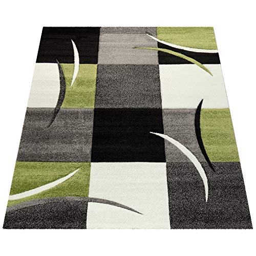 Amazon Brand - Umi Alfombra Salon Comedor Pasillo Dormitorio Pelo Corto 3D Cuadradas Diseño De Geometrica Triangulos Rombos Abstracto, Color:Verde, Tamaño:80x150 cm