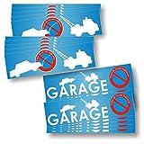 Adesivi 'divieto di sosta', pannelli di parcheggio e garage, confezione di 2 versioni diverse, confezione da 20 (2 x 10 adesivi) [lingua francese]