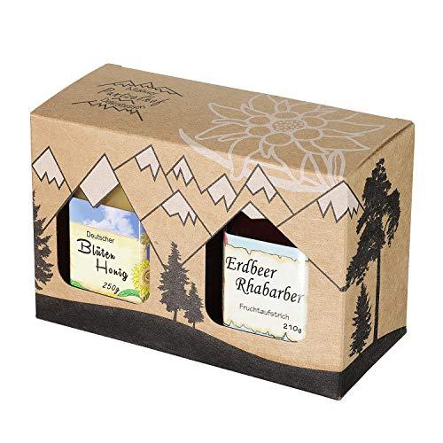 Allgäuer Genuss-Box – Feinkost Geschenk-Set 250g Deutscher Honig und 210g Handgemachter Fruchtaufstrich- Attraktives Geschenkset aus Kraftkarton