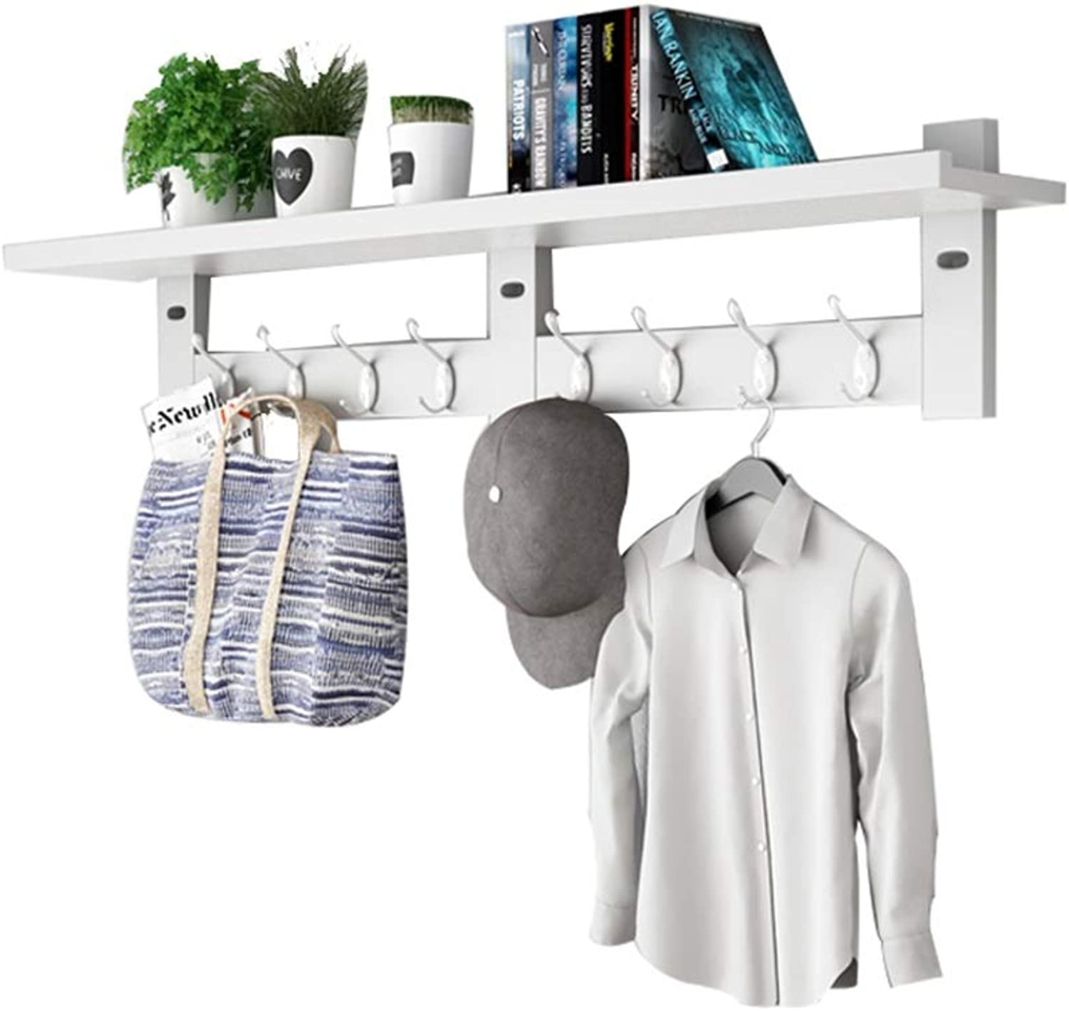 JIAYING Wall Mounted Coat Rack , Entryway Wall Shelf Wooden Organizer with Hooks Storage Rack for Hallway Living Room, Entryway Key Rack in 4 colors (color   White, Size   8 hook-100CM)