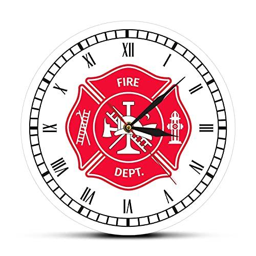 hufeng Reloj de Pared Bombero Cruz de Malta Reloj de Pared Retro Primer respondedor Departamento de Bomberos Decoración Reloj con números Romanos Regalos de Bomberos