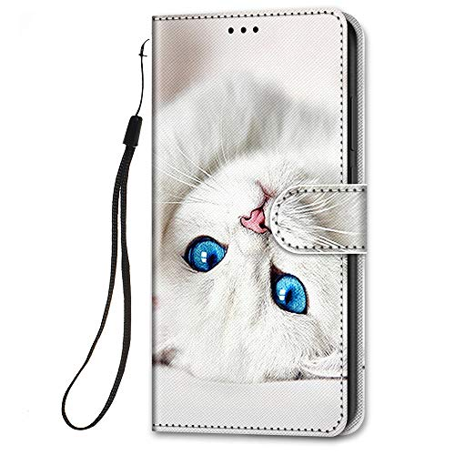 HopMore für Samsung Galaxy S21 Ultra / S30 Ultra Lederhülle, Handyhülle Samsung S21 Ultra Klapphüllen mit Tasche Klappbar Flip Hülle Motiv Schutzhülle Ledertasche Stoßfest Silikon Cover - Weiße Katze