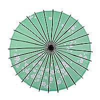 Smiti 和傘 紙傘 日傘 油引き 直径84cm 梅花 緑 黒骨