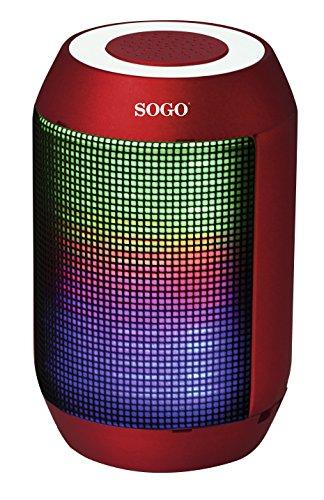 Sogo ALT-SS-8495-R - Altavoz portátil con Bluetooth con iluminación LED, Color Rojo