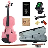Amdini 1/4 AC100 Solid Wood Violin with Tuner, Manual, Case, Bow, Shoulder Rest and Extra Bridge & Strings (Pink)