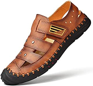 LSWL Summer Baotou Waterproof Men's Leather Sandals Leather Soft-soled Beach Shoes Driving Hollow Large Size Casual Hole Shoes (Color : Brown, Shoe Size : 48)