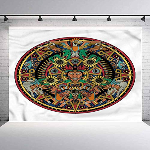 7x7FT Vinyl Photography Backdrop,Aztec,Colorful Aztec Round Background Newborn Birthday Party Banner Photo Shoot Booth