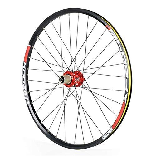 TYXTYX Schnellwechselachsen Fahrradzubehör Fahrrad Hinterrad 26/27,5 Zoll, doppelwandig Renn MTB Felge QR Scheibenbremse 32H 8 9 10 11 Geschwindigkeit Rennrad Cyclocross Fahrradräder (Farbe: ROT,