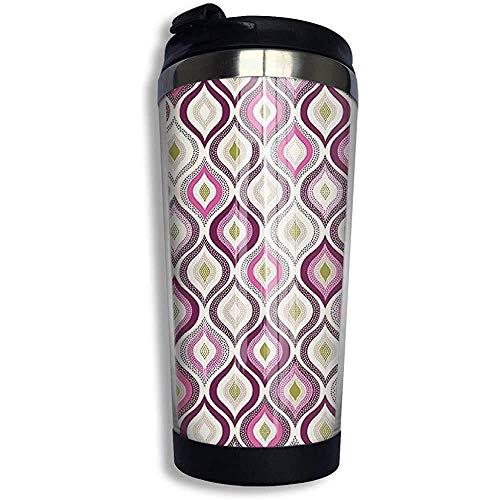 Yuanmeiju Taza de agua café taza de vaso con aislamiento al vacío taza de viaje taza de café de acero inoxidable estilo doodle clásico vertical magenta para el hogar oficina camping 13.5 oz