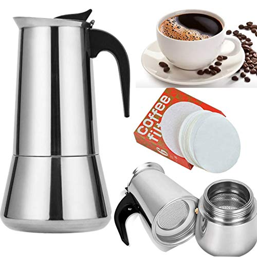 Moka Pot Stovetop Stainless Steel Espresso Coffee Machine Italian Cafe Maker Percolater with 100 Pieces Paper Filters Suitable for Stove (12 Cup,Fullbody)