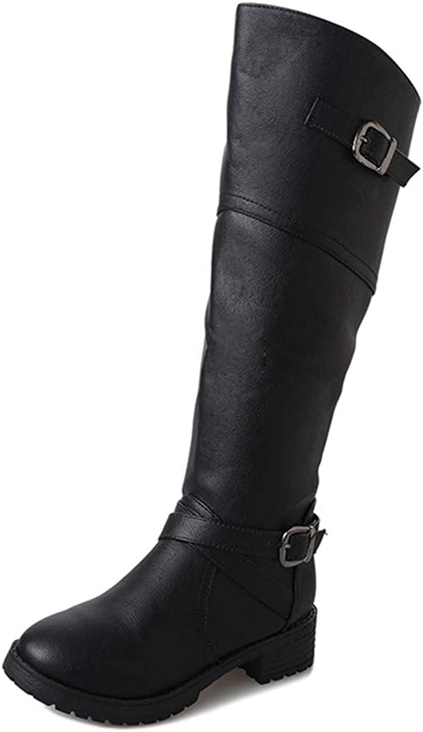 CYBLING Womens Winter Buckle Straps Knee High Motorcycle Riding Flat Low Heel Mid Calf Boots