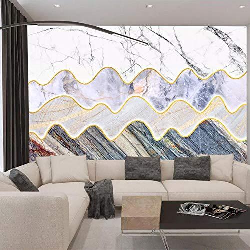 Lederen naden Rug_geometrisch woonkamer salontafel met lederen naden voor slaapkamer nachtkastje met geometrisch patroon personaliseerbaar Modern 3D fotobehang strand 350cm×256cm