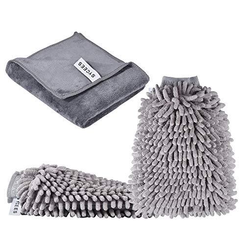 SYCEES 2 Stücke Wasserdicht Mikrofaser Autowaschhandschuh und 1 Stück Microfasertuch Set, weicher Korallen Auto Chenille Waschhandschuh Handschuh mit Reinigungstuch Trokentuch für Autowäsche (Grau)