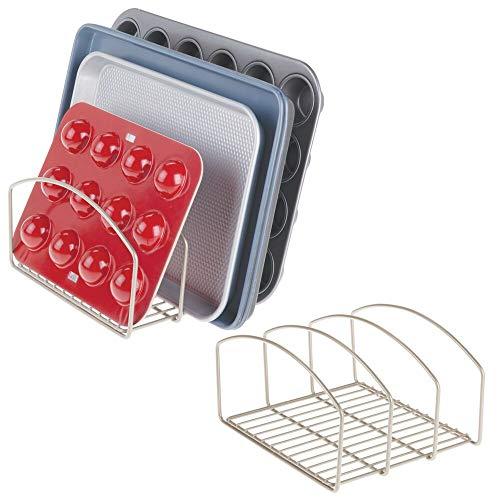 mDesign Juego de 2 coloca sartenes y Tapas de ollas – Compacto Porta tapaderas con 3 apartados para armarios de Cocina – Soporte de Metal Ahorra Espacio para Utensilios de Cocina – Plateado Mate