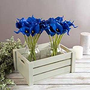 Pure Garden Artificial Calla-Lily with Stems-Real Touch Fake Flowers for Home Decor Wedding, Bridal/Baby Shower, More-24 Pc Set (Royal Blue)