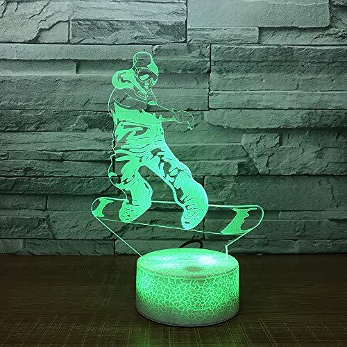 JYHW Skateboards 3D Nachtlampjes Kleurrijke 3D Nachtkastje geleide lamp witte onderkant charmante 7 lampen van de kleurverandering-3D
