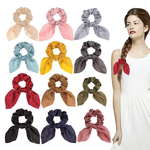 Bolonbi - 12 coleteros de satén con lazo para cabello, gomas para el pelo con diseño de orejas de conejo, accesorio elástico para coleta o moño, para mujeres y niñas