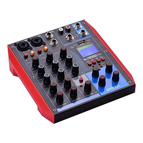 Audiomixer, ammoon Tragbarer 6-Kanal-Mixer, Digitaler Mixer + 48-V-Phantomspeisung, Unterstützung Der BT/USB / MP3-Verbindung, Geeignet für Musikaufnahmen, DJ-Netzwerke, Echtzeitsendungen und Karaoke