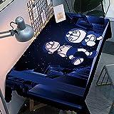Mantel Antimanchas Rectangular Protector de Mesa Lavable Impermeable Manteles 120X160Cm Mantel Rectangular Adecuado para La decoración de La Cocina - Azul Oscuro, Doraemon Nobita
